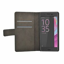 Wallet Black Leather Flip Case Cover For Sony Sony Xperia X Performance