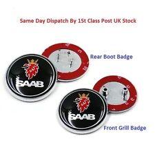 2x saab badge noir 9-3,9-5 set de démarrage arrière & bonnet front logo emblème 68mm, uk