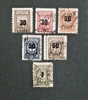 LITHUANIA  & GERMANY - MEMEL 1923 6 Used Stamps from overprinted Annexation set