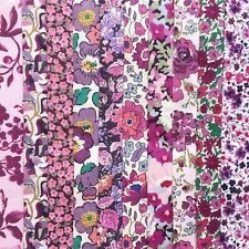 "10 Liberty Print Tana Lawn pieces - each minimum 5"" x 5"" - *PURPLE & PINK*"