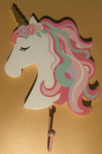 Wooden Wall Mount Coat Hook UNICORN Pink & White a Hobby Lobby Home Decor