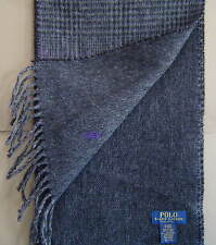 NWT $58 POLO RALPH LAUREN Double Face ITALIAN Wool Scarf GLEN PLAID BLACK 6F0217