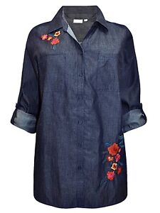 Women's Dark Blue Denim Shirt Plus Size 18/20 22/24 26/28 roll tab blouse 452