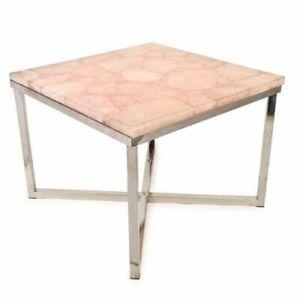 "15"" Rose Quartz Agate Coffee Side Table Natural stone Handmade Work"