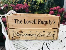 Personalised Christmas Eve Box Wooden Crate Storage Hamper Ideal Gift