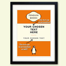 Personalised penguin book cover print, wedding, birthday, christening poster