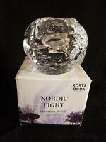 Kosta Boda SNOWBALL Nordic Light Lead Crystal Votive Candle Holder NEW Ann Warff
