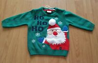 F&F Baby Boys Green Christmas Jumper 3-6 months Father Christmas Santa NEW