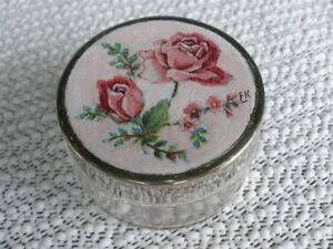 French Decoupage Pill Box with 2 Red Roses in Glass with Metal Lid