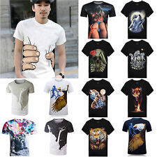 Hi New Women Men's 3D Print Short Sleeve Tops Casual T-Shirt Graphic Tee Shirts