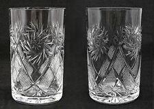 Set of 2 Russian Crystal Glasses Tumblers For Tea Glass Holder. 8.5 oz (250ml)