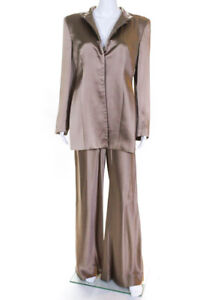 Giorgio Armani Womens Vintage Button Down Wide Leg Pants Suit Brown Size 44