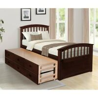 Oris Fur Bed Frame Twin Platform Beds with Wood Slat Support 3 Drawers 2 color