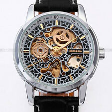 SHENHUA Skeleton Automatic Round Face Stainless Steel Leather Strap Watch