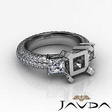 3 Stone Diamond Wedding Eternity Ring 14k White Gold Princess Semi Mount 2.8Ct