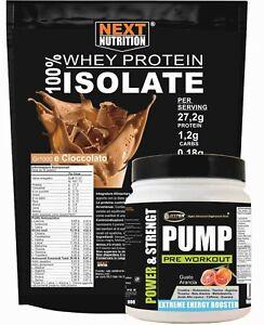 Proteine WHEY Isolate kg1 + Pre Workout Pump  Pre Allenamento g 500 Kit Massa