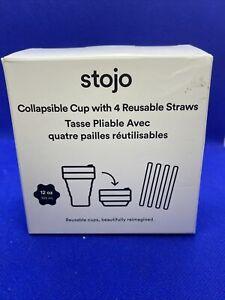 Stojo Collapsible 12 oz Travel Cup - 4 Reusable Straws - FabFitFun Product - NIB