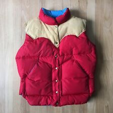 Vintage Rocky Mountain Featherbed Down Vest Leather Red Blue