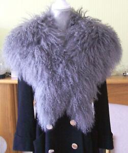 Topshop Real Sheepskin Mongolian Fur Lambswool Oversized Collar Stole Wrap Boho