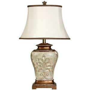 28'' Antique White w/ Gold Accents Table Lamp  White Fabric Shade by StyleCraft