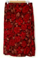 Sag Harbor Womens Pencil Skirt Long Faux Wrap Maxi Red Floral Rose Rayon Size M