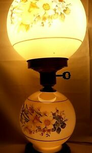Vintage 3 Way Switch Double Globe Floral Design Electric Parlor Lamp with Chimney
