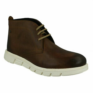 SNOWDON MENS BASE LONDON CASUAL BROWN LEATHER LACE UP WINTER CHUKKA ANKLE BOOTS