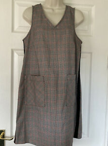 Checked Dog Tooth Pinafore Smart Office Dress Black Panels Pockets Size 14
