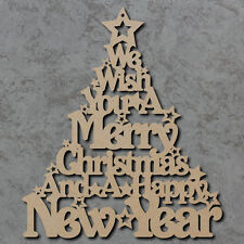 Merry Christmas Tree Sign - Wooden Laser Cut mdf Craft Shapes