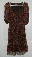 Kensie Pretty Empire Waist Multi Color Lined Sheer Ruffled Dress NWT S