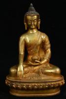 Old Tibet Bronze Gilt Shakyamuni Amitabha Buddha Sakyamuni Tathagata Bowl Statue