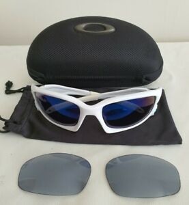 Oakley Split Jacket Sunglasses White Frame - Ice Blue + Black/Grey Lenses