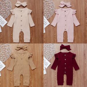Newborn Baby Girl Ruffle Romper Jumpsuit Bodysuit + Headband Outfits Clothes Set