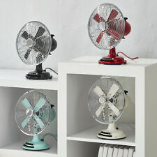 Retro Fan 8 Inch 3 Speed Portable Air Durable Metal Indoor Table Multicolored