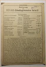 Beschreibung der 2C1 (h2)-Schnellzuglokomotive Reihe 01 um 1930 Eisenbahn sf