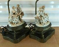 "Antique Continental German Style Porcelain and Bronze Table Lamps, Couple, 23"" H"