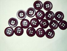 "Vintage lot of 20 Buttons Deep Purple/Plum Color Buttons 15 mm (5/8"")"