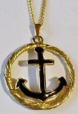 collier pendentif couleur or déco relief ancre marine émail noir 2228