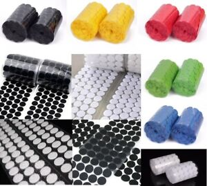Hook & Loop Sticky Self Adhesive Dots Coins 8, 10, 15, 20, 25, 30mm White, Black