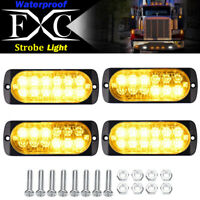 4x Amber 12 LED Strobe Light Bar Truck Hazard Beacon Flash Warning Emergency 36W