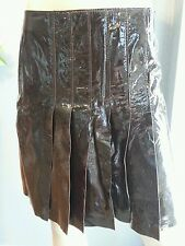 NWT Alberta Ferretti Italy Brown 100% Mouton Sheep Shiny Leather Skirt 8 42