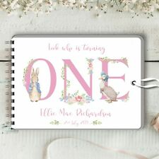 Personalised Guest Book Peter Rabbit 1st Birthday, Memory Book, Photos, Messages