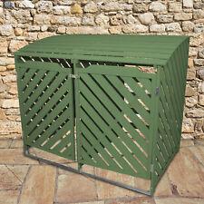 Wheelie Bin Storage Shed Double Wooden Dustbin Store Garden Outdoor Sage Green