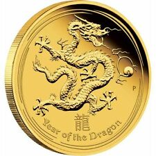 Australia 2012 1/10 Oz 3.11gr Lunar Series II Year of the DRAGON GOLD Proof Coin