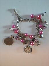 Charm Bracelet Watch With hearts and pink beads