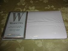 Vintage Wamsutta Twin Size Flat Egyptian Cotton Sheet 250 Thread Cream New
