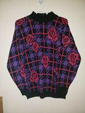 Vintage Rose Sweater ADELE knitwear Black/purple/Hot pink Size Small M
