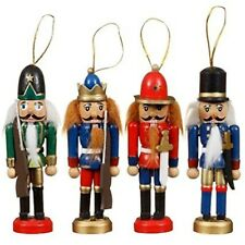 Pack of 4 Wooden Nutcrackers Christmas Holiday Ornaments Red Green Blue 9cm Tall