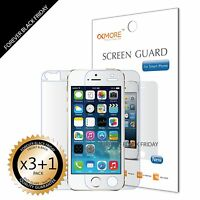 3x Anti-Glare Matte Front Screen Protector Cover Guard + 1x Back For iPhone 5S