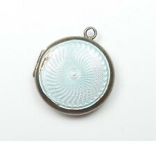 Rare Antique 925 Silver ROUND GUILLOCHE ENAMEL PICTURE LOCKET PENDANT 10.7g